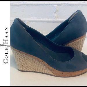 Cole Haan Blue Cork Wedge